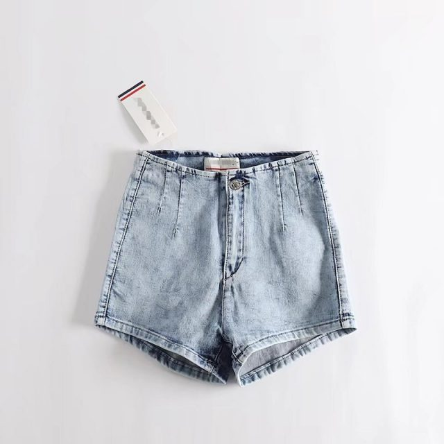 2018 Summer Essential Type Jeans Shorts Women Sim High Rise Stretch Denim Fabric Shorts