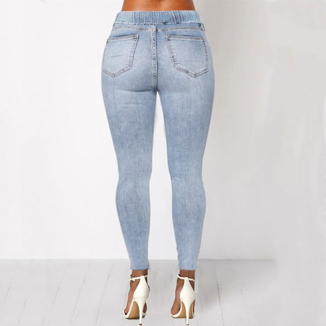 WITHZZ Elastic Waist Hole Denim PantsTrousers Torn Pencil Pants Women's Ripped Jeans
