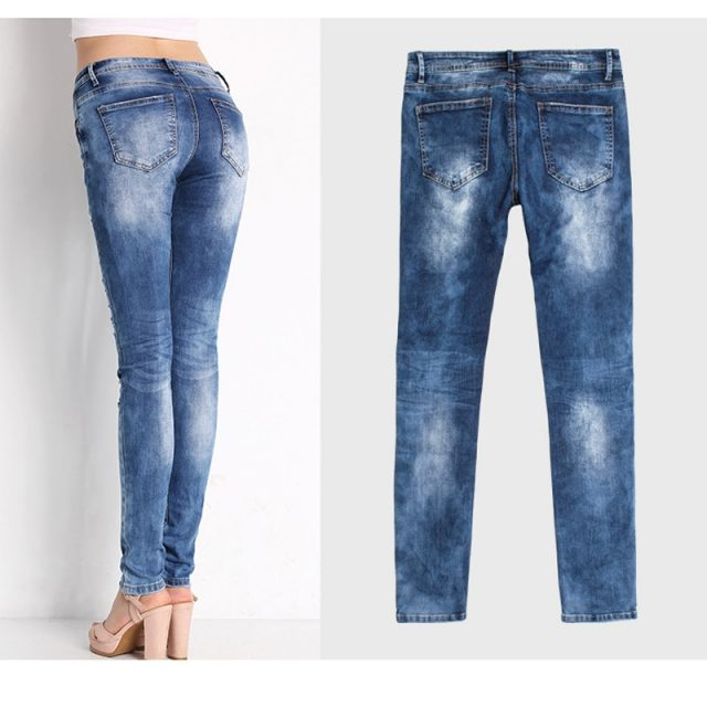 2020 Ms. Autumn New Hole Jeans Slim Stretch Europe and America Women's Autumn Feet Pencil Pants Large size S-3XL