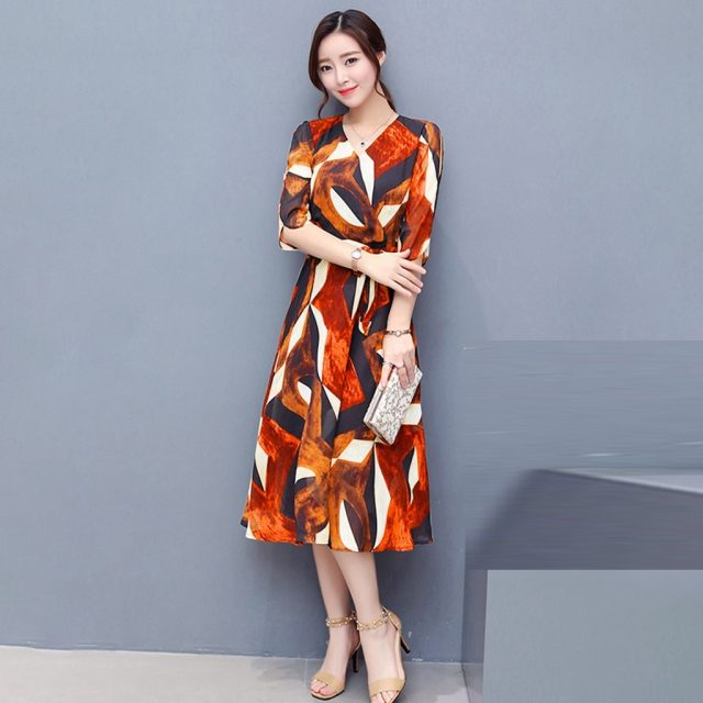2021 Autumn Winter Geometric Print Vintage Dress Plus Size Midi Dresses Korean Elegant Women Party Long Sleeve Bodycon