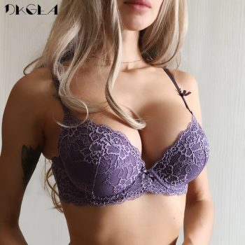 New Super Gather Purple Bras Sexy Women Underwear Cotton Thick Brassiere A B C Cup Push Up Bra Embroidery Lace Lingerie Black