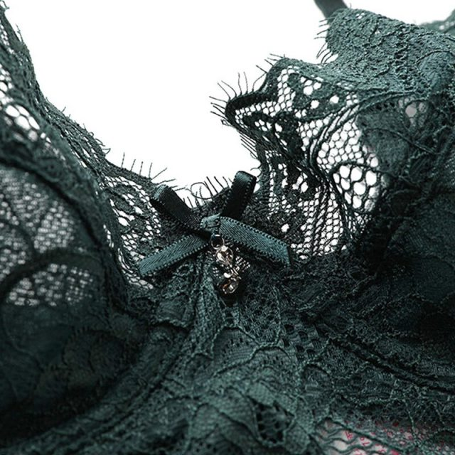 Fashion Sexy Underwear Ultrathin Bra Plus Size 38 40 42 Brassiere Green Women Lingerie Lace Eyelash Transparent Bras Embroidery