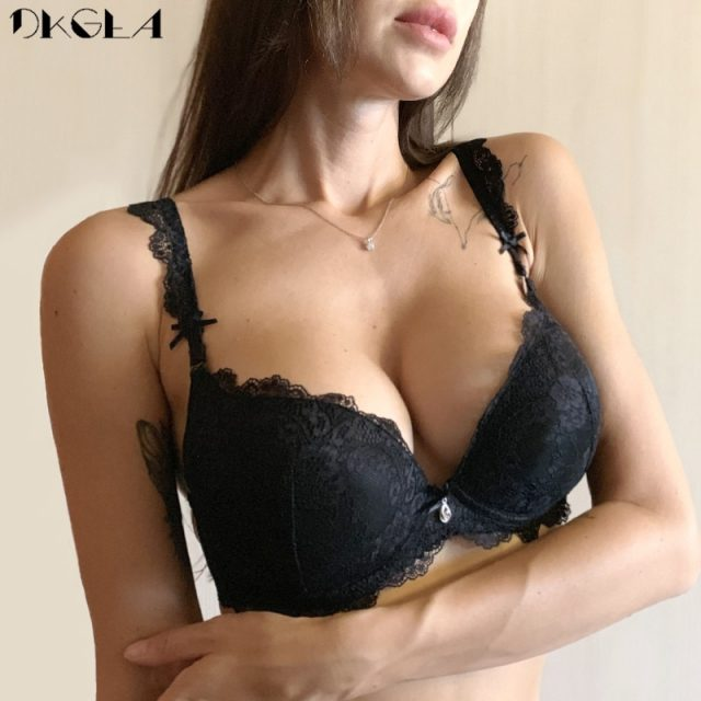 Classic Black Women Underwear Lace Embroidery Push Up Bra Cotton Thick Brassiere A B C Cup Sexy Bras Adjustable Deep V Lingerie