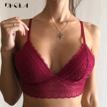 Young Girl Seamless Vest Bra White Thin Cotton Brassiere A B C Cup Women Lingerie Lace Bras Embroidery Sexy Underwear Black